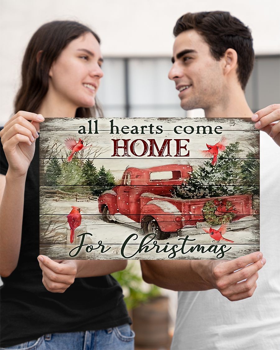 red truck and cardinal bird all hearts come home for christmas poster 3