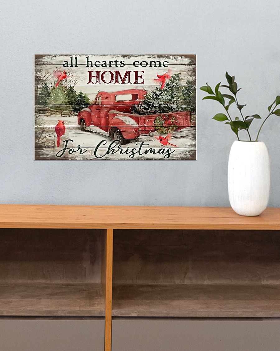 red truck and cardinal bird all hearts come home for christmas poster 4
