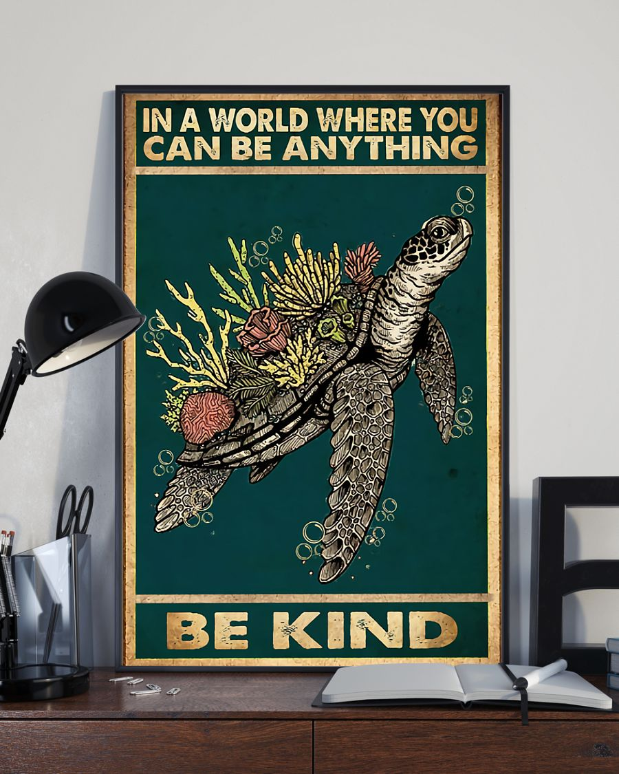 sea turtle and flower in a world where you can be anything be kind vintage poster 1