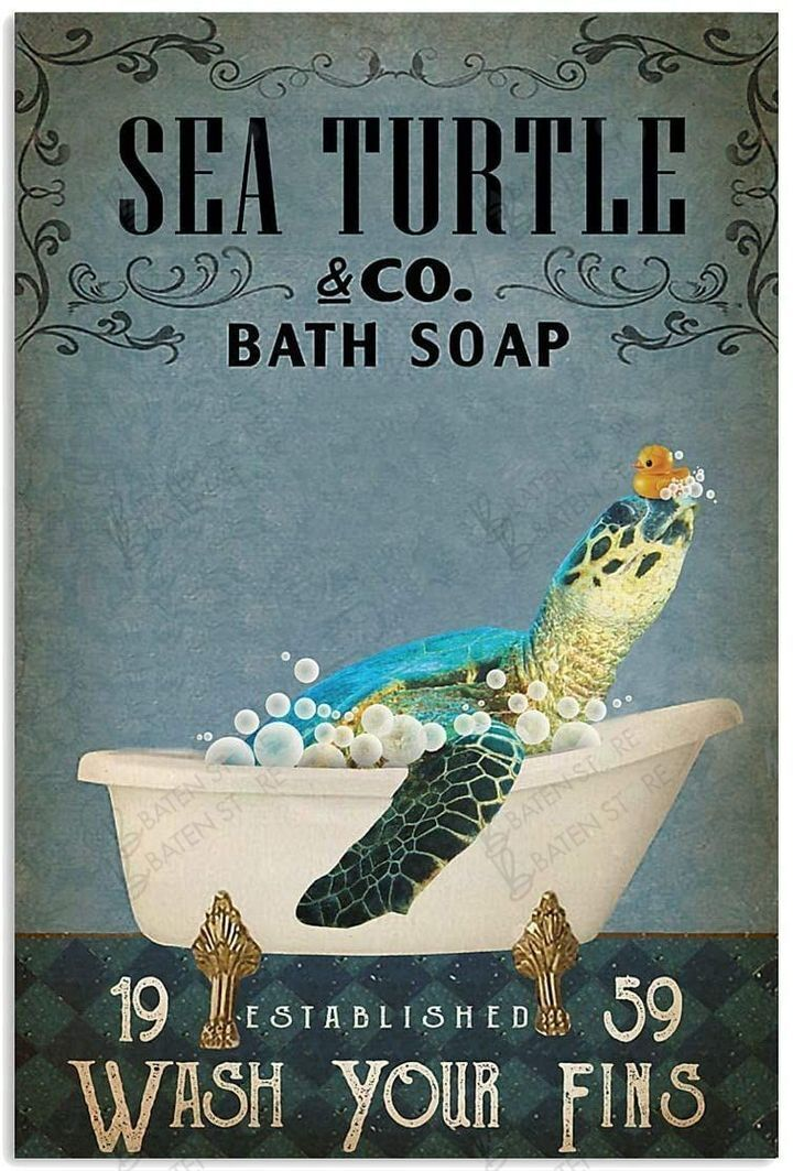 sea turtle co bath soap wash your fins vintage poster 1