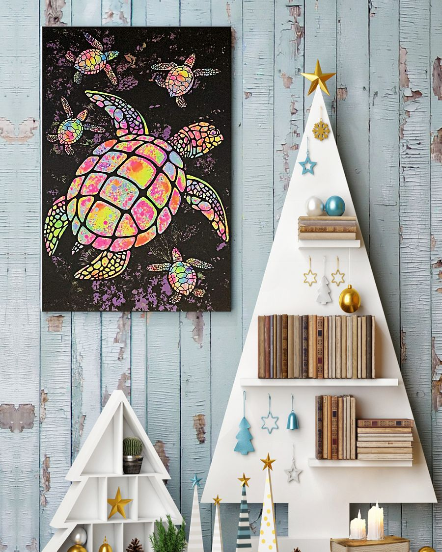 sea turtle colorful paiting vintage poster 1