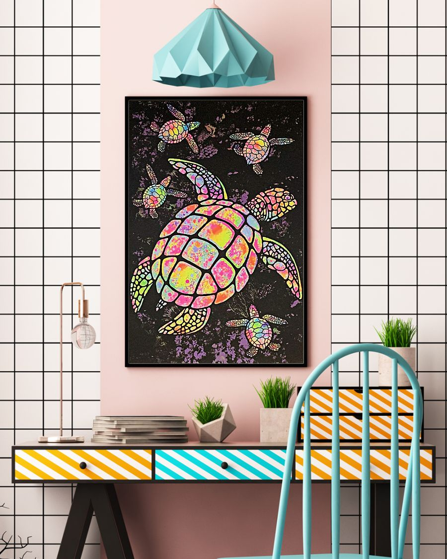 sea turtle colorful paiting vintage poster 3