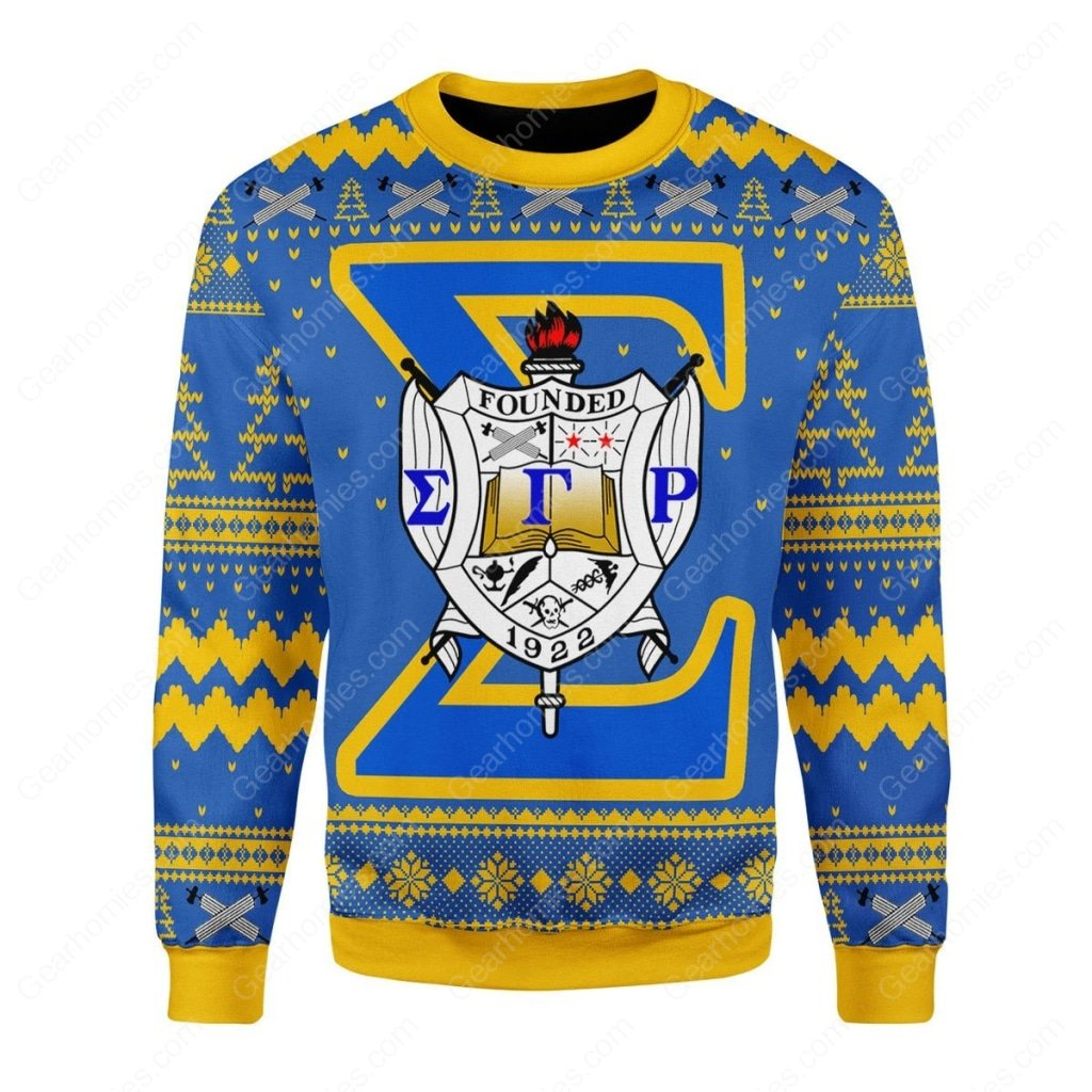 sigma gamma rho 1922 all over printed ugly christmas sweater 3