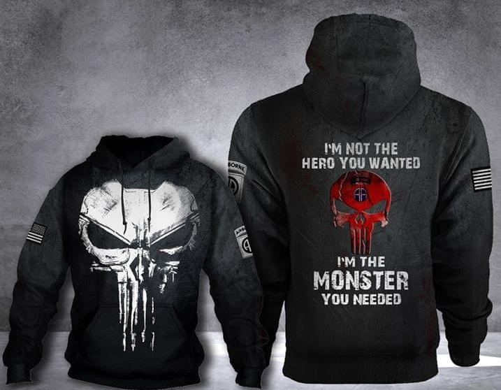 skull 82nd airborne division im not the hero you wanted full over printed hoodie 1
