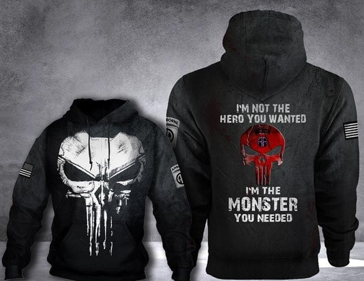 skull 82nd airborne division im not the hero you wanted full over printed hoodie