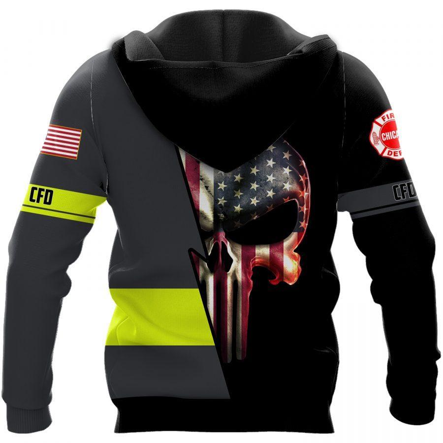 skull american flag chicago fire fighter department full over printed shirt 3