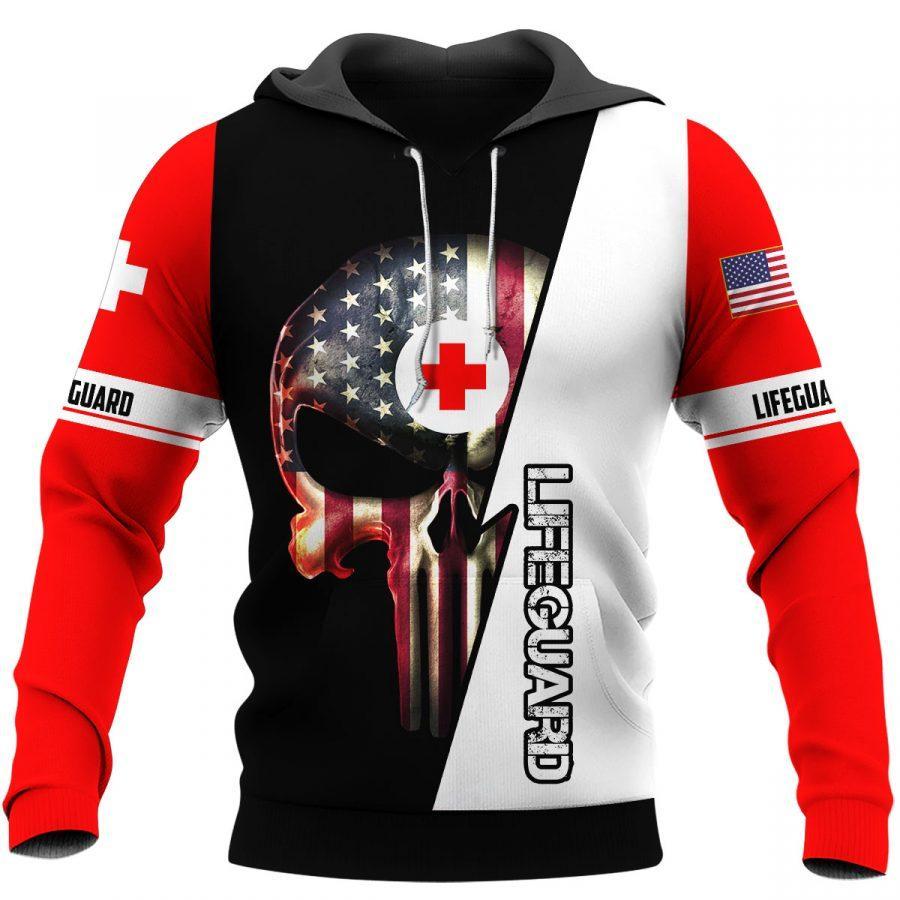 skull american flag us lifeguard full over printed shirt 2