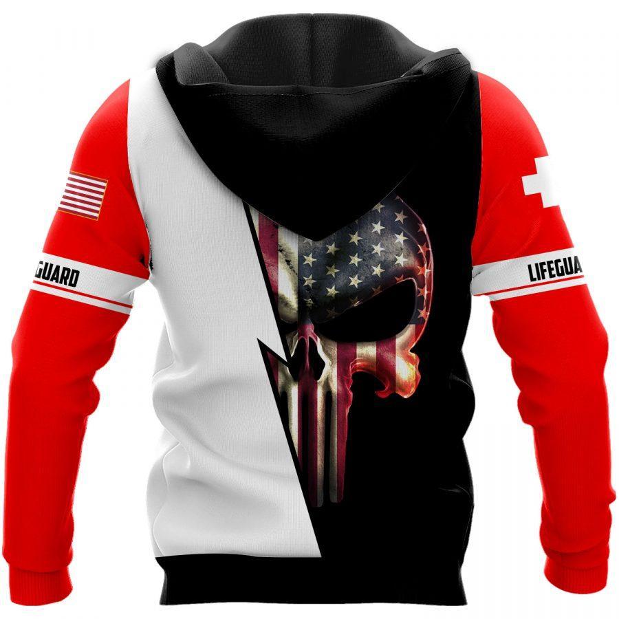 skull american flag us lifeguard full over printed shirt 3