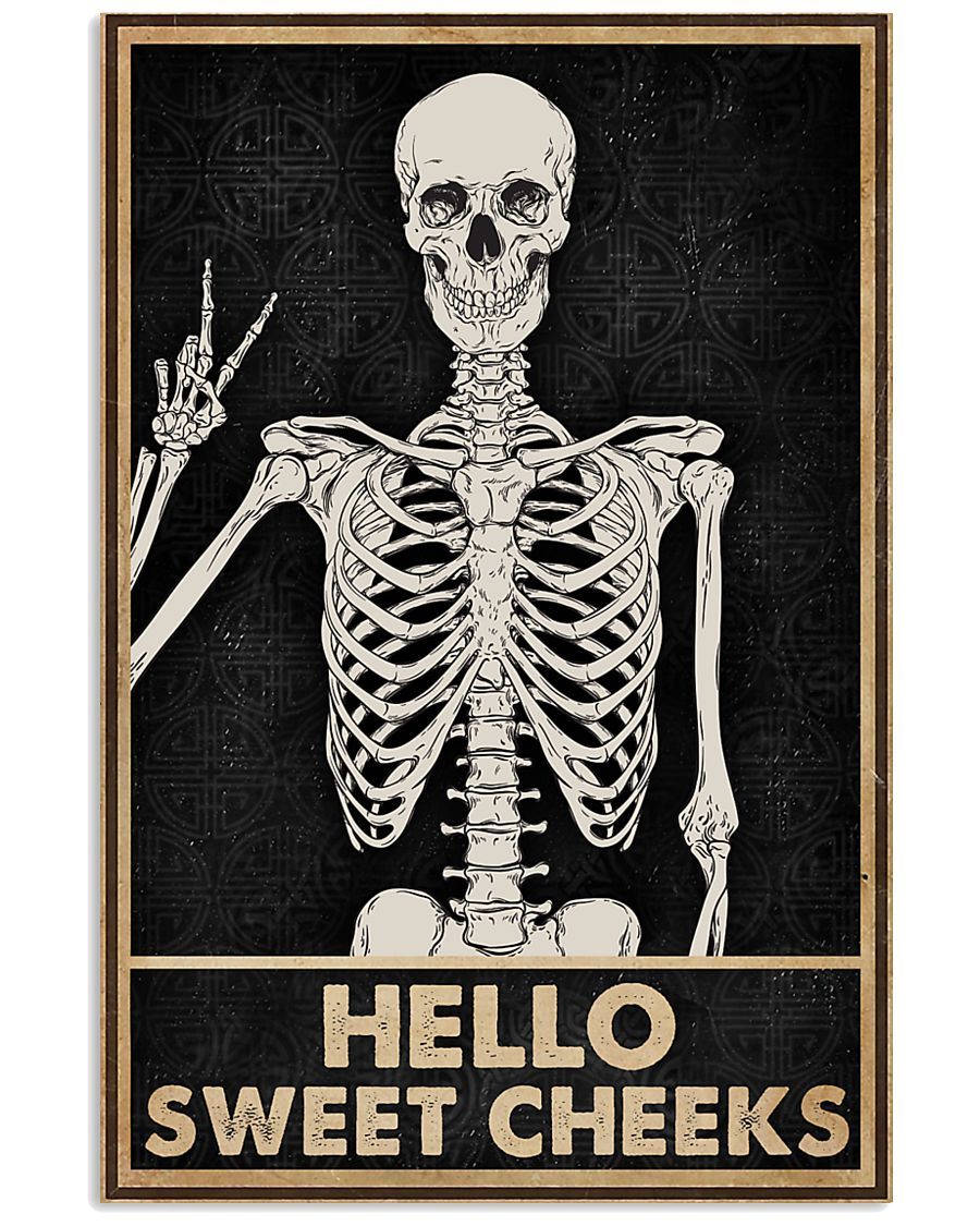 skull hello sweet cheeks vintage poster 1