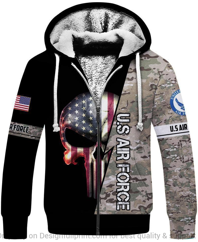 skull the united states air force camo full over printed fleece hoodie 1