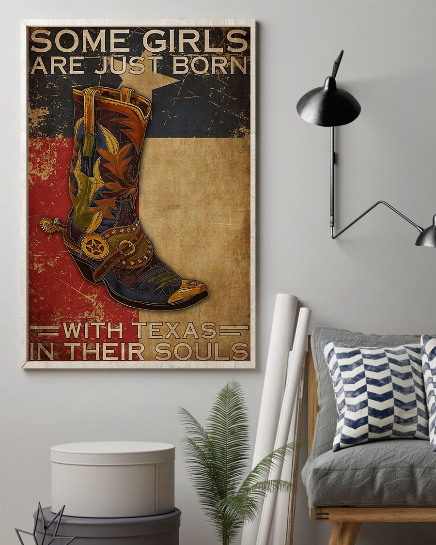 some girl are just born with texas in their souls vintage poster 2