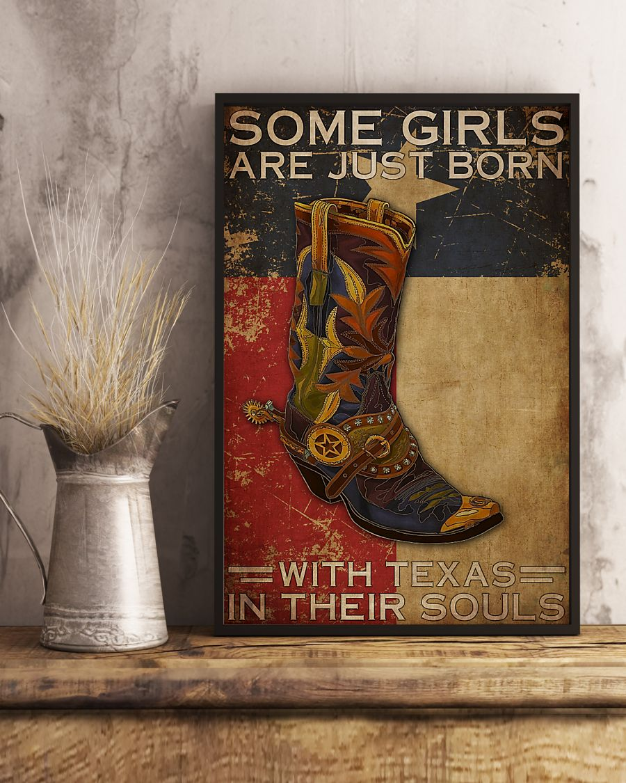 some girl are just born with texas in their souls vintage poster 3