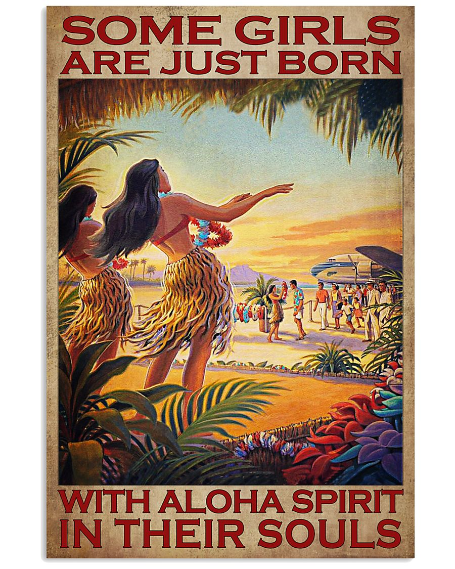 some girls are just born with aloha spirit in their souls vintage poster 1