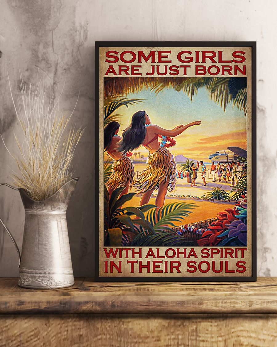 some girls are just born with aloha spirit in their souls vintage poster 3