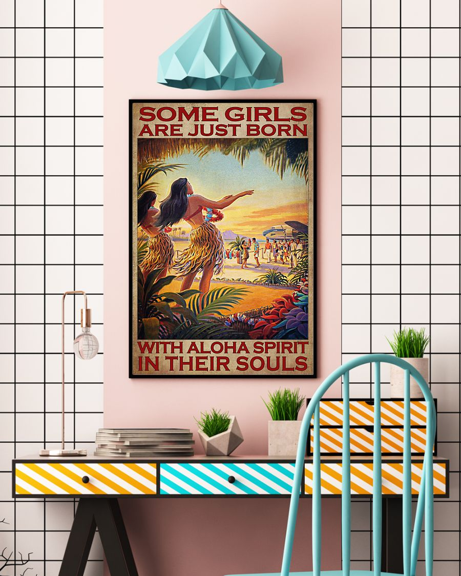 some girls are just born with aloha spirit in their souls vintage poster 4