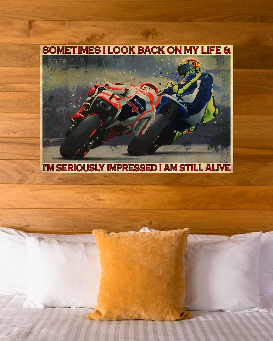 sometimes i look back on my life and im seriously impressed i am still alive motorcycle racing vintage poster 4