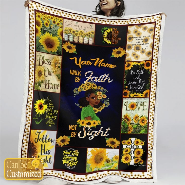sunflower and black girl your mom walk by faith not by sight blanket 2