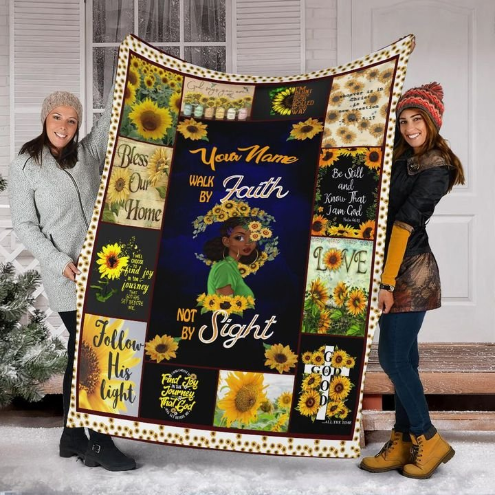 sunflower and black girl your mom walk by faith not by sight blanket 4