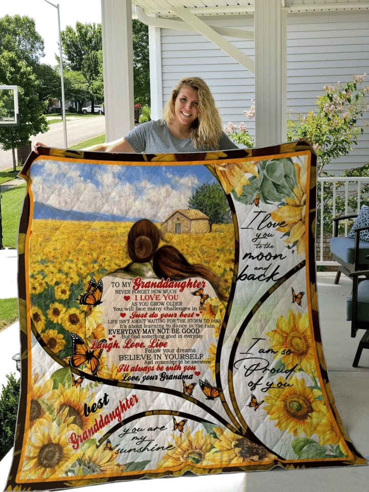 sunflower to my granddaughter i love you to the moon and back quilt 2
