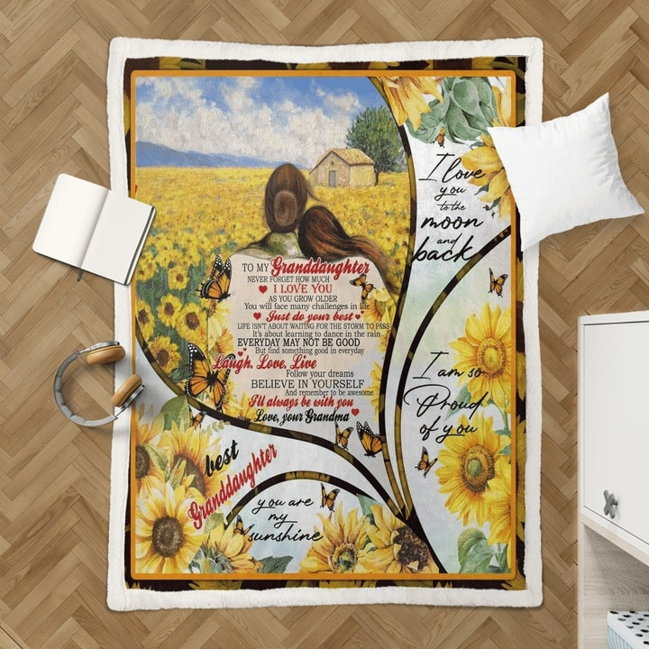 sunflower to my granddaughter i love you to the moon and back quilt 4