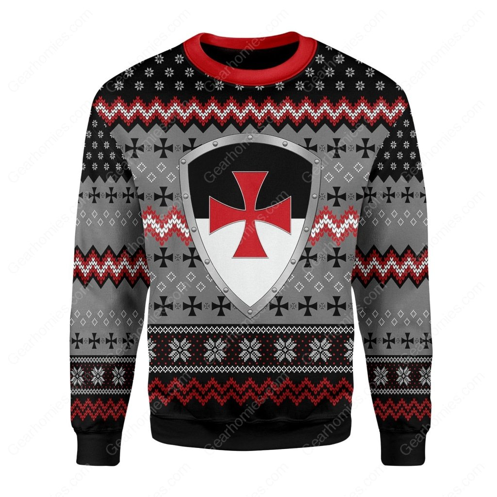 the knights templar all over printed ugly christmas sweater 2