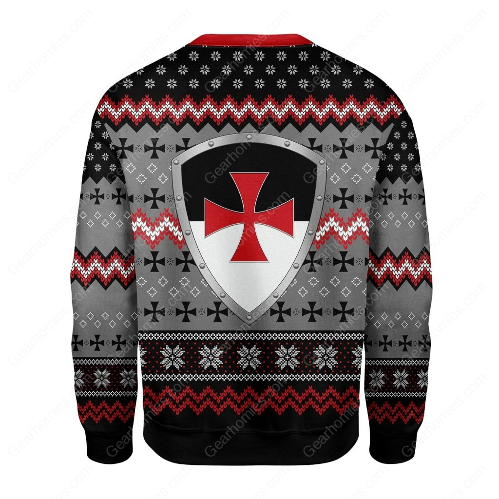 the knights templar all over printed ugly christmas sweater 5