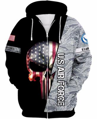 the united state air force skull american flag camo full over printed shirt 2