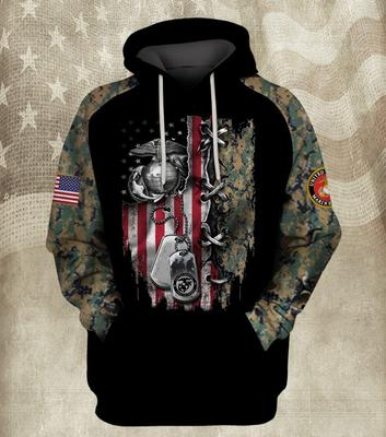 the united states marine corps american flag camo full over printed shirt 2