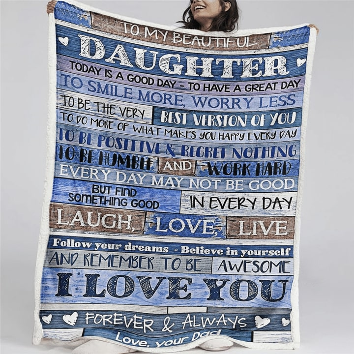 to my beautiful daughter i love you forever and always your dad blanket 2