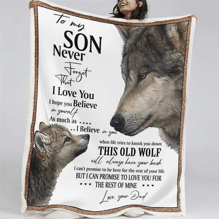 to my son never forget that i love you wolf quilt 3