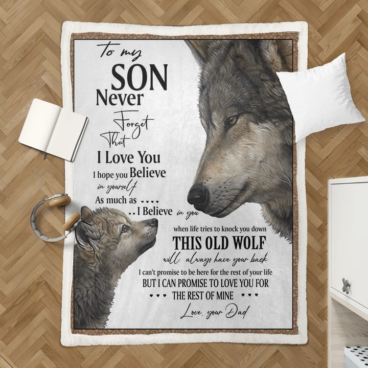 to my son never forget that i love you wolf quilt 4