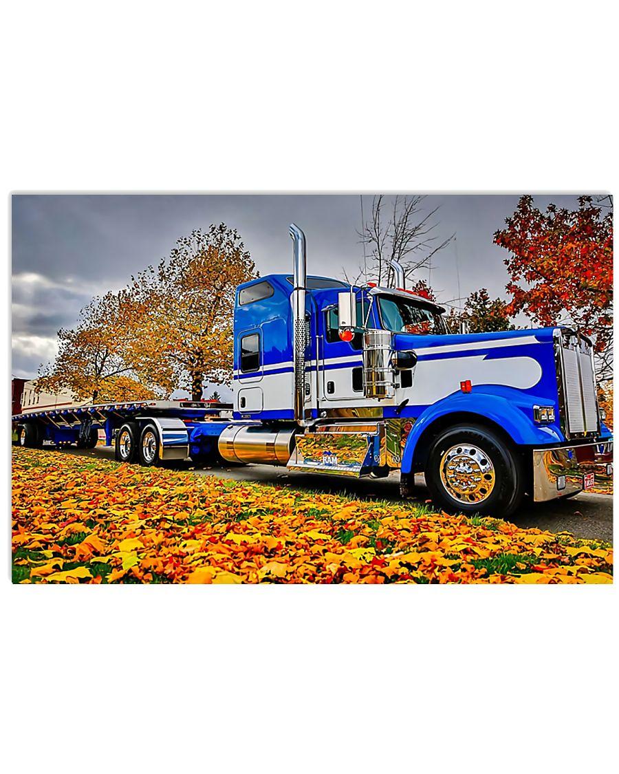 trucker semi truck in autumn vintage poster 1