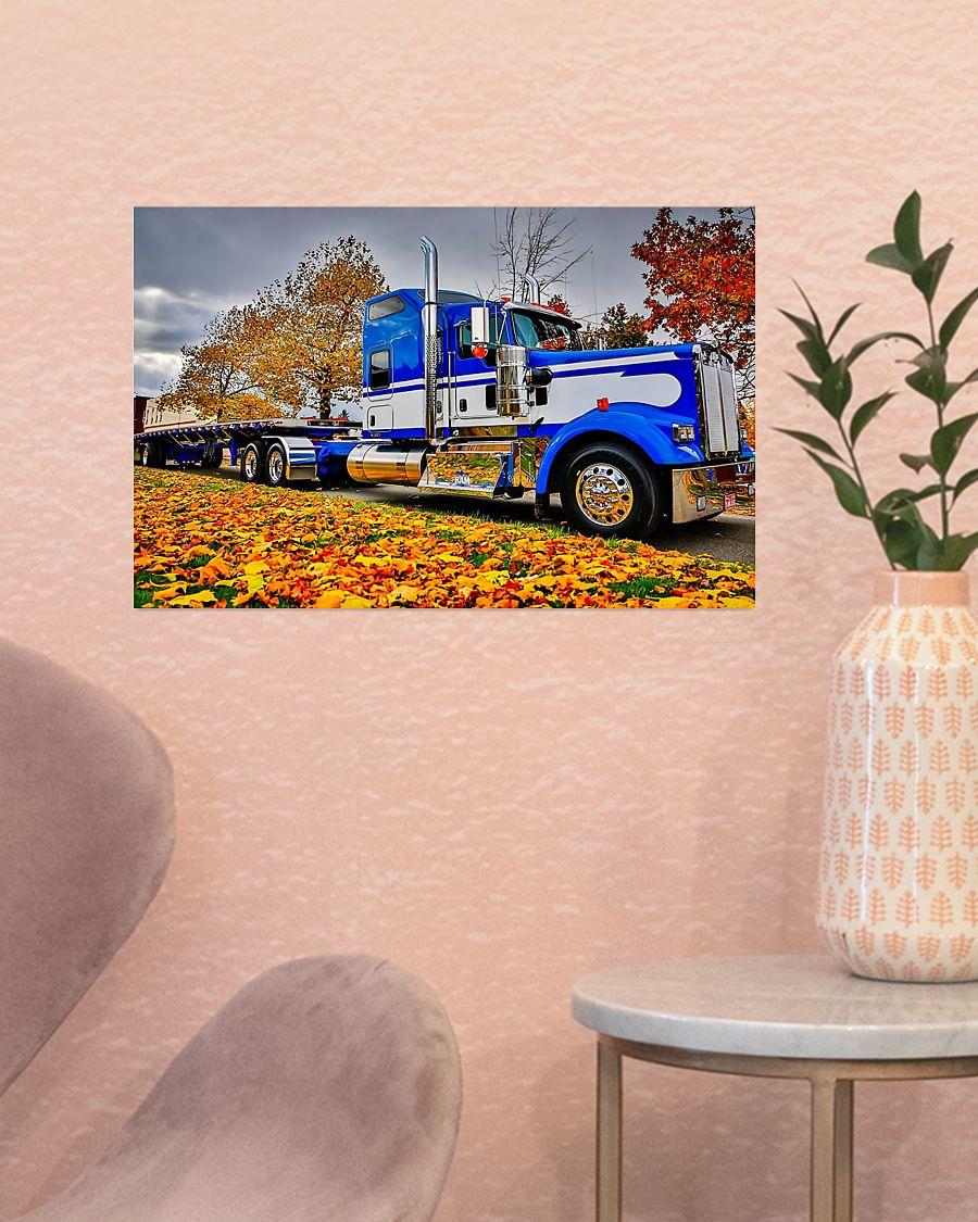 trucker semi truck in autumn vintage poster 2