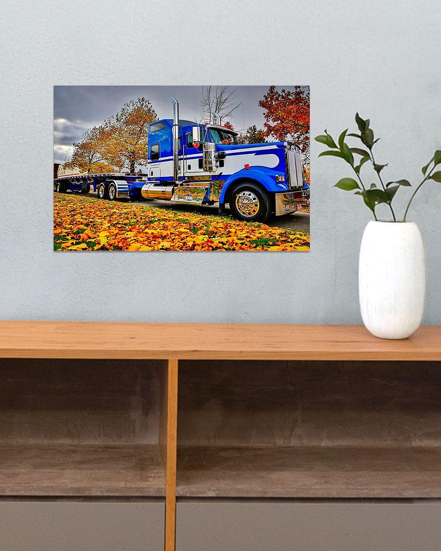 trucker semi truck in autumn vintage poster 3
