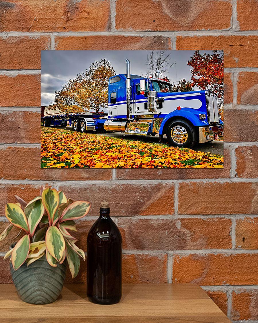 trucker semi truck in autumn vintage poster 4