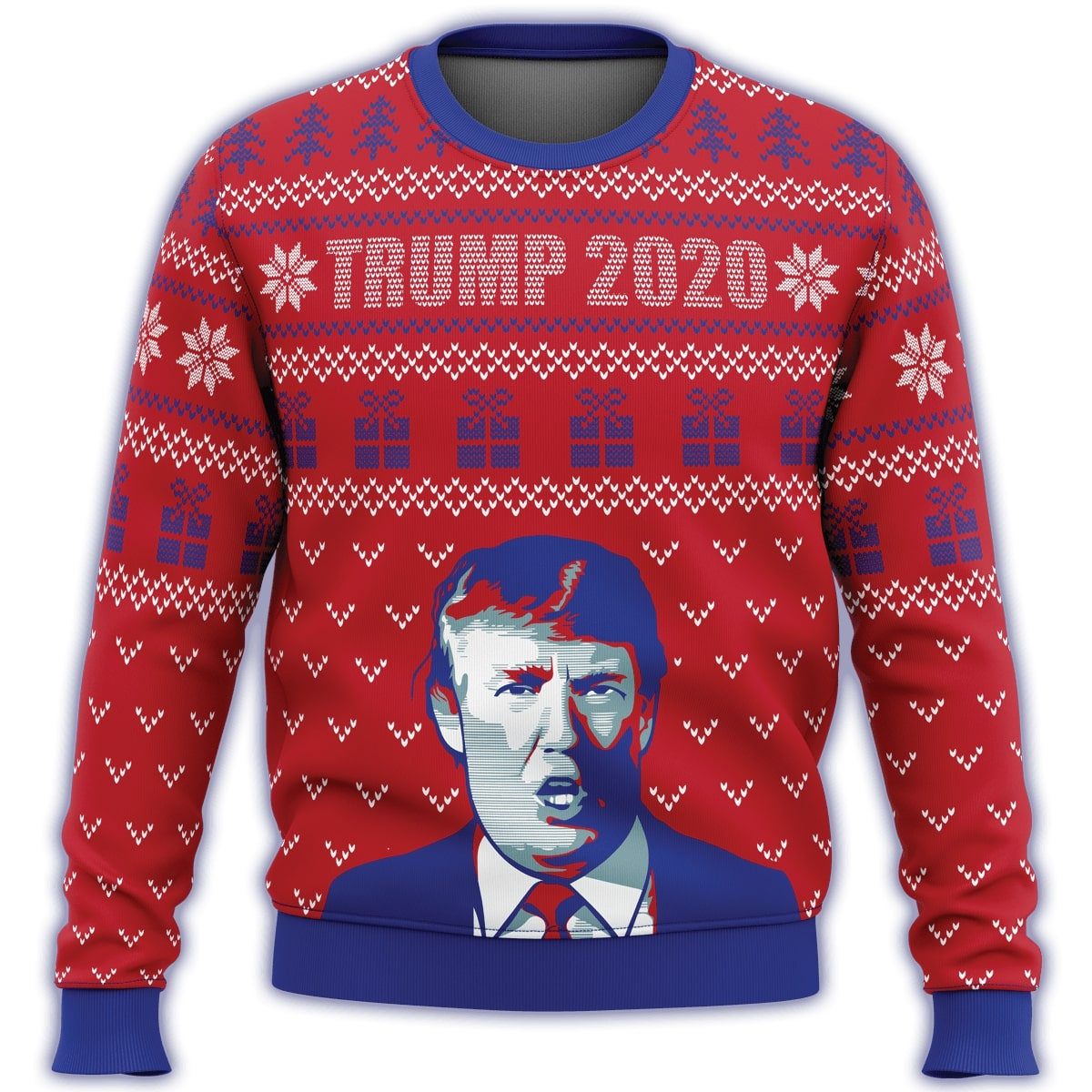 trump 2020 all over printed ugly christmas sweater 3