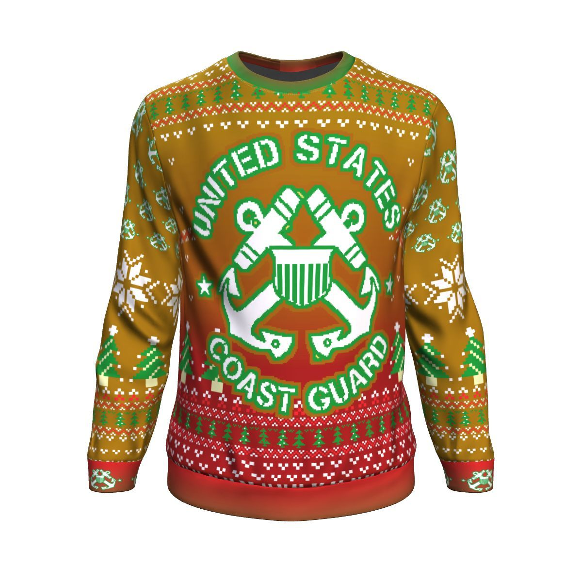 united states coast guard bright all over printed ugly christmas sweater 2