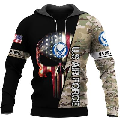 us air force skull american flag camo full over printed hoodie