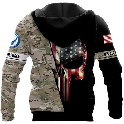 us air force skull american flag camo full over printed shirt 3