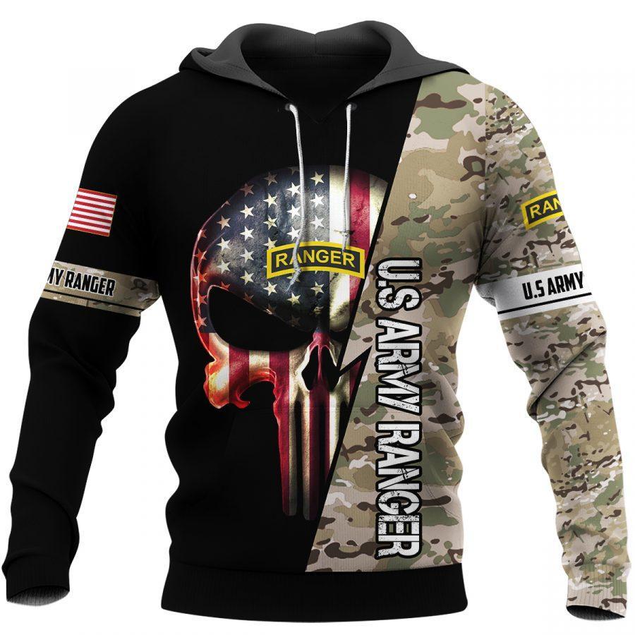 us army ranger skull american flag camo full over printed shirt 2