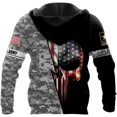 us army skull american flag camo full over printed hoodie - back