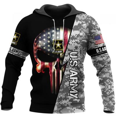 us army skull american flag camo full over printed hoodie