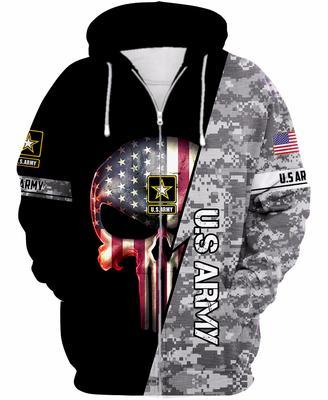 us army skull american flag camo full over printed zip hoodie