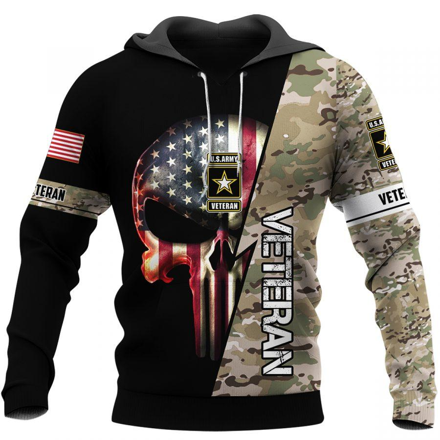 us army veteran skull american flag camo full over printed hoodie