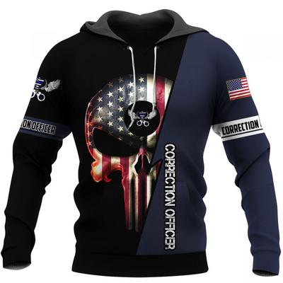 us correction officer skull american flag camo full over printed hoodie