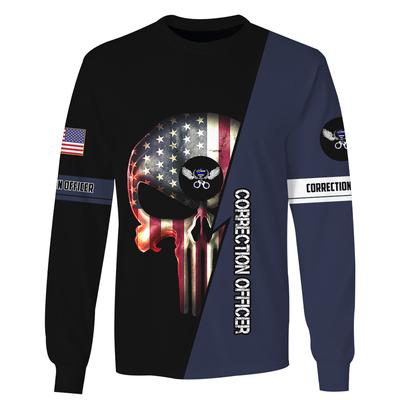 us correction officer skull american flag camo full over printed sweatshirt