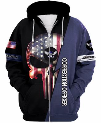 us correction officer skull american flag camo full over printed zip hoodie