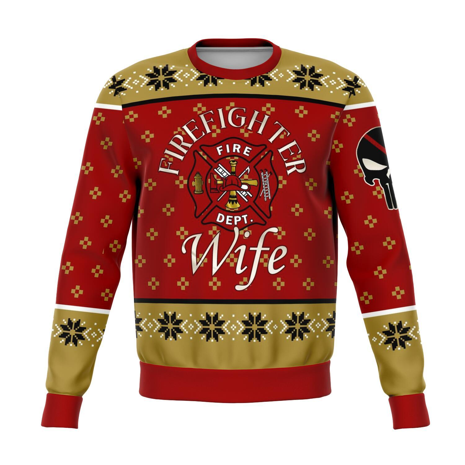 us firefighter wife all over print ugly christmas sweater 3