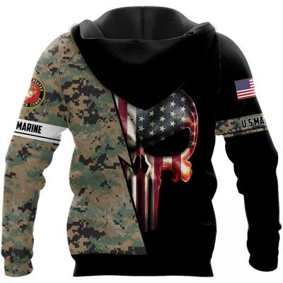 us marine skull american flag camo full over printed shirt 2