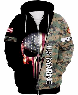 us marine skull american flag camo full over printed shirt 3